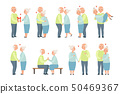Senior man and woman having a good time together set, elderly romantic couple in love vector 50469367