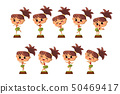 Hawaiian girl dancing hula in traditional costume set vector Illustrations on a white background 50469417