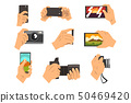 Hand taking pictures with smartphone and camera set vector Illustrations on a white background 50469420