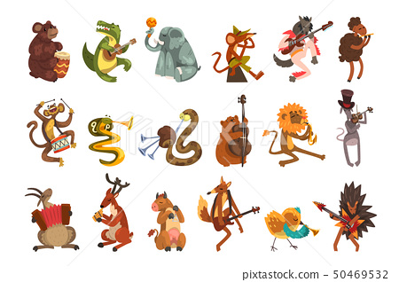 Cute cartoon animal characters playing various musical instruments vector Illustrations on a white 50469532