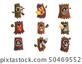 Cute animals and birds sitting in hollow of tree set, hollowed out old tree and fox, owl, wolf 50469552