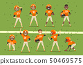 Professional american football team players in field vector Illustration 50469575