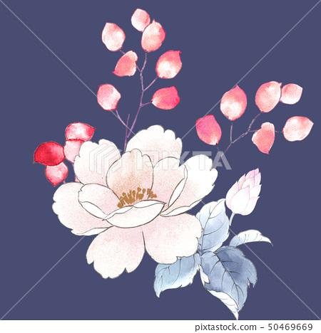 꽃 수채화 장미 컬렉션 50469669