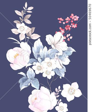 꽃 수채화 장미 컬렉션 50469670