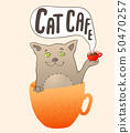 Cat in the orange coffee cup 50470257