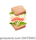 Sandwich on square slices of bread with red fish. Vector illustration on white background. 50470663