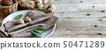 餐具 整套的餐具 餐巾 50471289