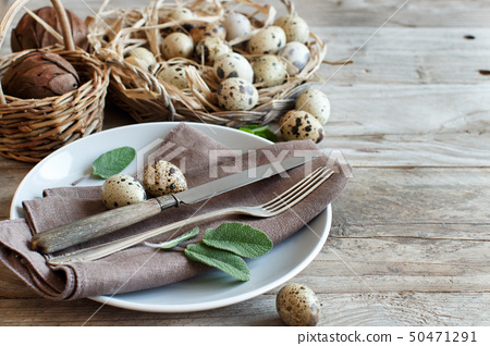 Rustic Easter table setting 50471291