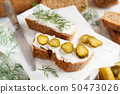 Sandwiches with cream cheese, dill and salted 50473026