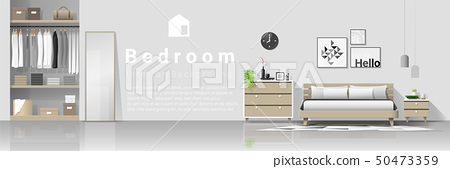 Interior background with modern cozy bedroom 50473359