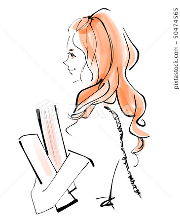 책을 안고있는 여성 50474565