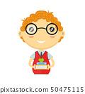 Happy fun schoolboy with books. Vector  50475115