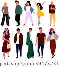 Beautiful young women and men in fashion clothes. Vector. 50475251