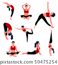 Set of aerobics and yoga poses. Vector. 50475254