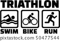 Triathlon set with pictogram icons 50477544