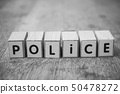 word on wooden cube on wooden desk  - Police 50478272