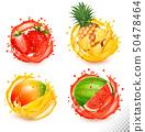 Set of fruit juice splash. Strawberry, pineapple, 50478464