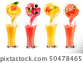 Set of fruit juice splash in a glass. Strawberry, 50478465