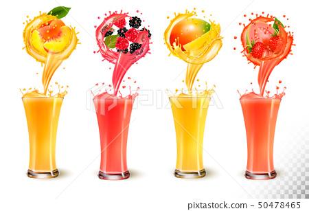 Set of fruit juice splash in a glass. Strawberry, 50478465