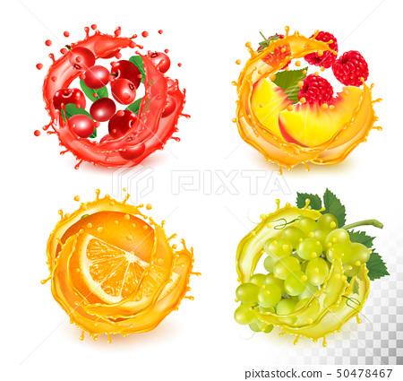 Set of fruit juice splash. Rawberry, orange, 50478467