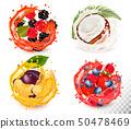 Set of fruit juice splash . Strawberry, 50478469
