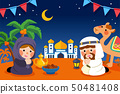Cute muslims praying together 50481408