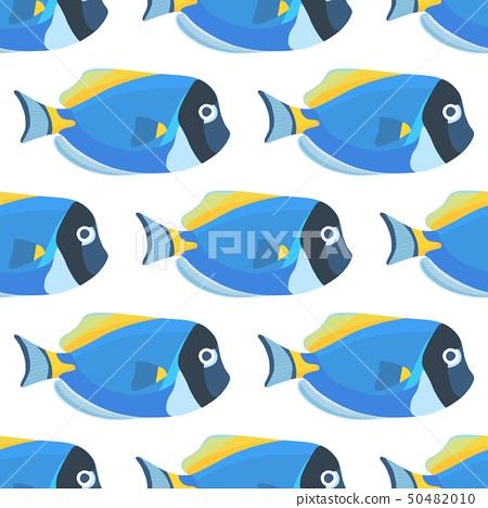 Powder blue tang fish seamless pattern. Acanthurus 50482010