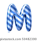 Blue stripe balloon alphabet M 50482390