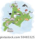 Watercolor illustration map of Hokkaido tourism 50483325