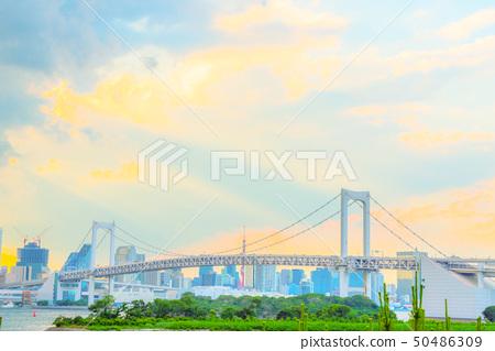 台場海和彩虹橋動漫風格 50486309