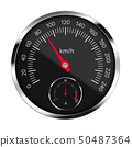 Realistic illustration of black metal speedometer 50487364