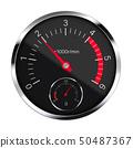 Realistic illustration of a black metal tachometer 50487367