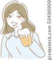 一个女人用啤酒 50490909