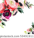 Greeting card with watercolor flowers handmade. 50491911