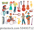 Cartoon young female and male singers with microphones and musician characters with music 50493712