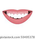Mouth with a distal bite and high smile line or gummy smile before the orthotropics or orthotropics 50495378