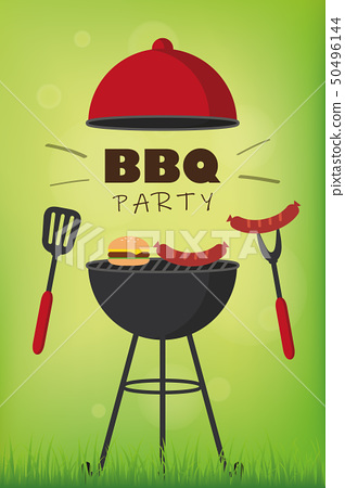 bbq party red kettle barbecue with sausages burger and grill cutlery 50496144
