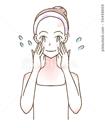 수채화 여성 일러스트 스킨 케어 미소 50498609