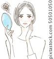 關心皺紋紫外線的女人麻煩曬傷美容皮膚 50501050