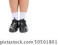 boy school student wear a black leather shoes 50501801