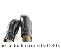 New leather student shoes isolated on white 50501805