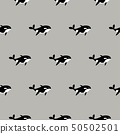 Orca whale seamless vector pattern. Cartoon style black and white fish background. 50502501
