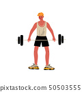Male Weightlifter, Athlete Character in Sports Uniform Rising Barbell, Active Healthy Lifestyle 50503555