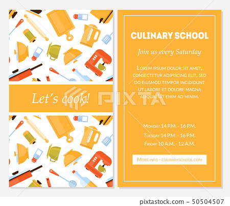 Cooking School Banner Template, Lets Cook... - Stock Illustration ...