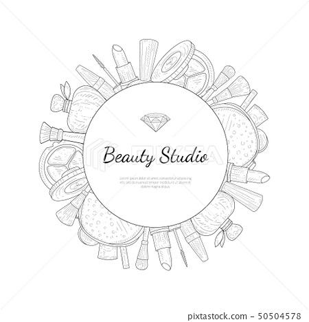 Beauty Salon Monochrome Banner Template With Stock Illustration 50504578 Pixta