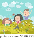 Cartoon kids look at insect in grass 50504953