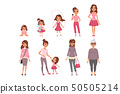 Life cycles of woman, stages of growing up from baby to woman vector Illustration 50505214