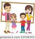 Family Holding Portrait Frame 50506363