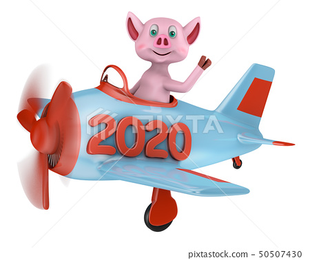 Piglet in airplane 2020 50507430