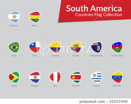 South America Continent Countries Flags icon 50507490